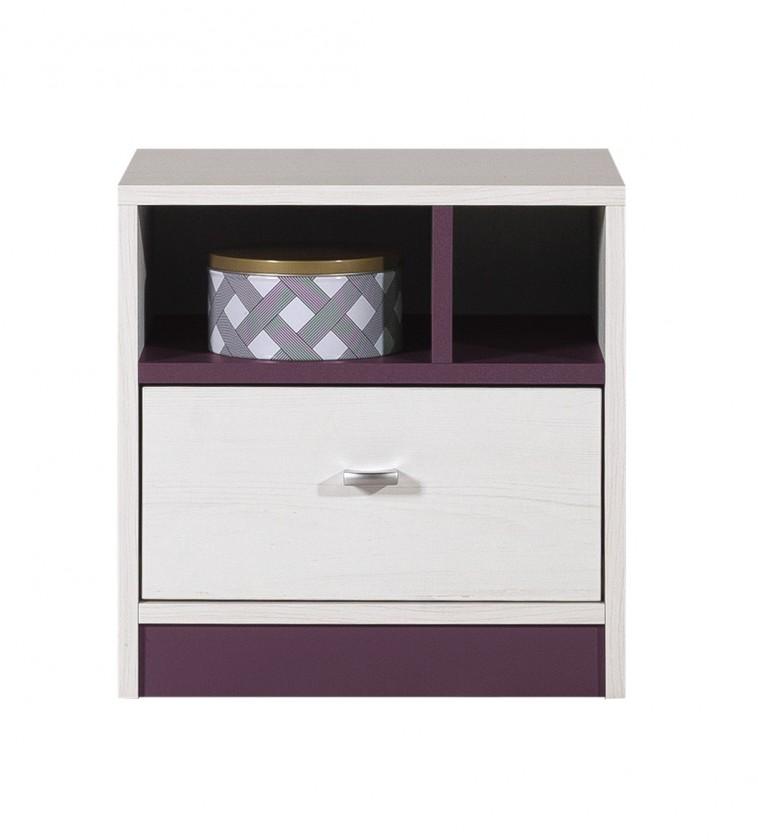 Dětský noční stolek Stone - Noční stolek ST13 (bílá, fialová)