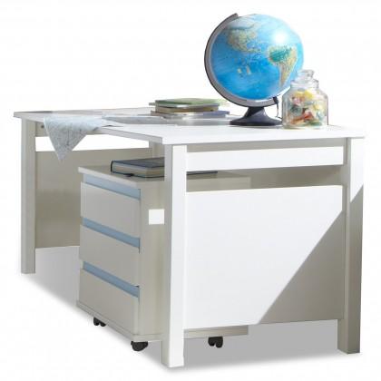 Dětský pracovní stůl Bibi - Pracovní stůl, s mobilním regálem (alpská bílá, modrá)