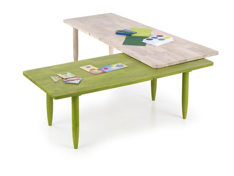 Dětský pracovní stůl Bora-Bora - Dětský stůl, barevný (bělené dřevo, zelená)