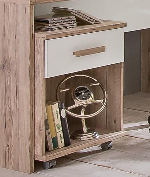 Dětský pracovní stůl Cariba - Mobilní stolek (san remo dub, bílá)