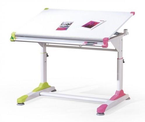 Dětský pracovní stůl Collorido (bílá/zelená/růžová)