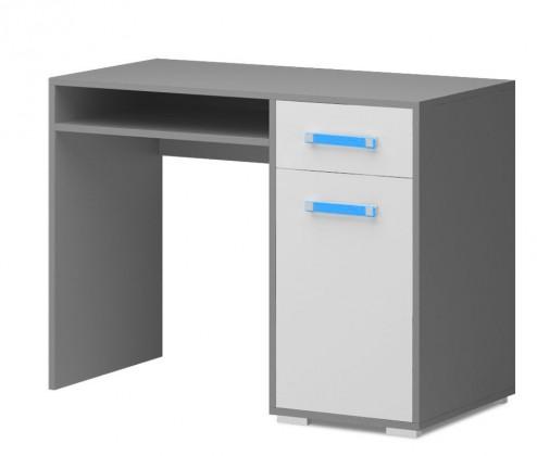 Dětský pracovní stůl Diego 10 - Stůl (přední strana bílá/šedé boky/modrý úchyt)