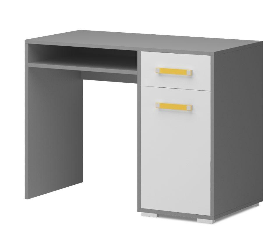 Dětský pracovní stůl Diego 10 - Stůl (přední strana bílá/šedé boky/žlutý úchyt)