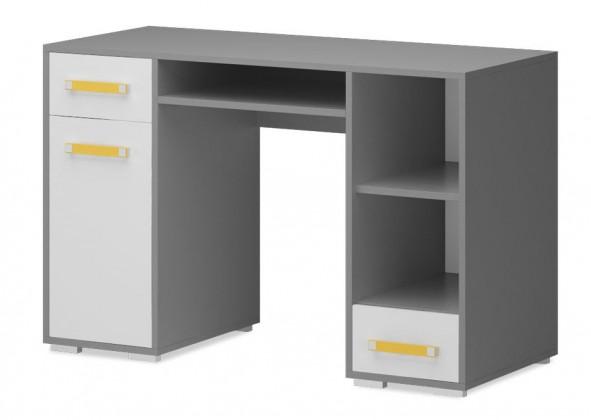 Dětský pracovní stůl Diego 11 - Stůl (přední strana bílá/šedé boky/žlutý úchyt)