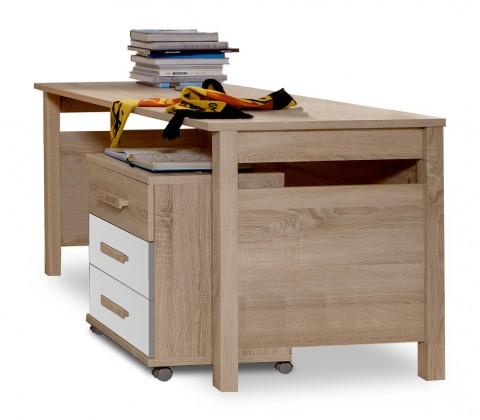 Dětský pracovní stůl Game - Pracovní stůl, mobilní komoda (bílá, dub)