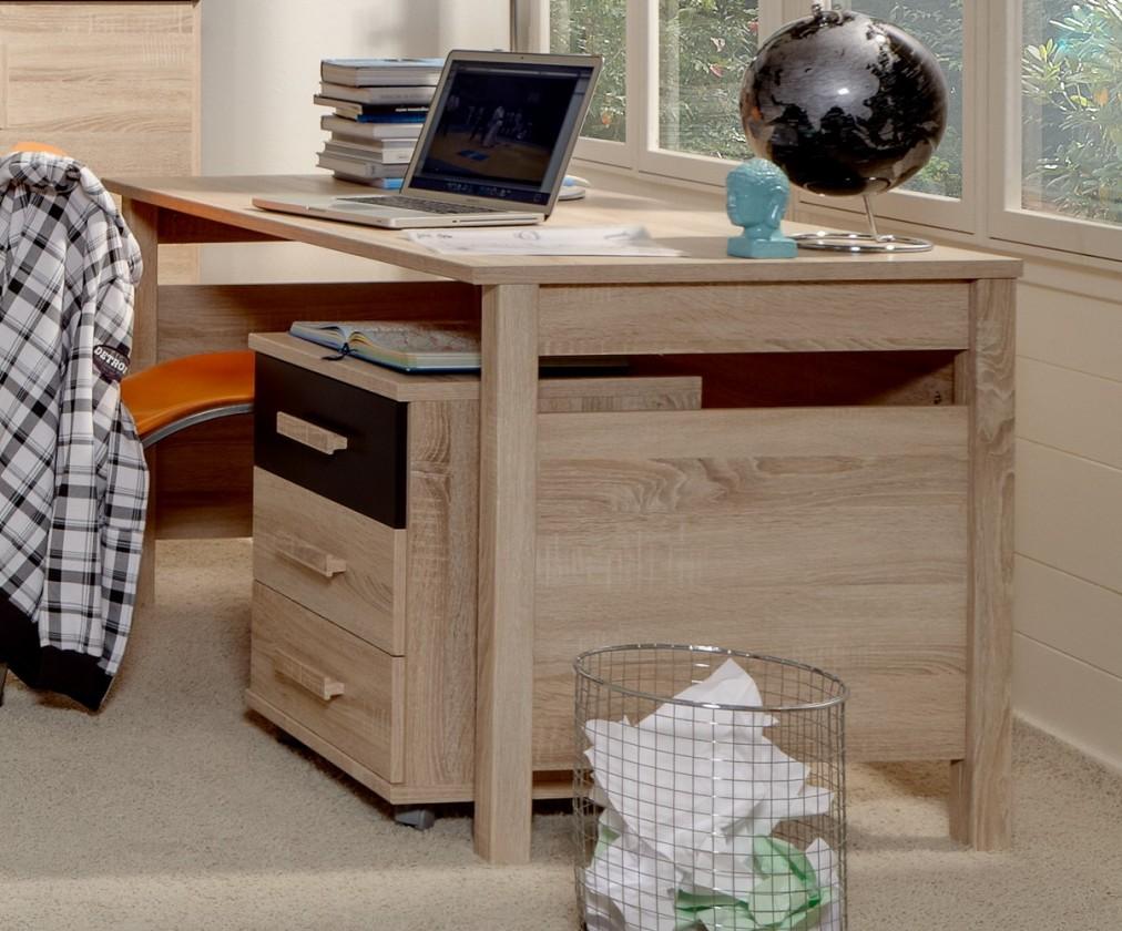 Dětský pracovní stůl Game - Pracovní stůl, mobilní komoda (dub, černá)