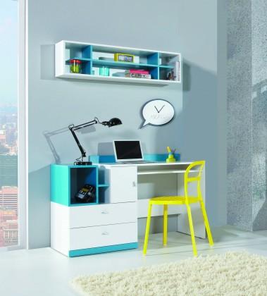 Dětský pracovní stůl MOBI MO 11 (bílá lesk/tyrkysová)