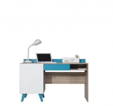 Dětský pracovní stůl SAJMON SJ 16 (modřín/bílá lesk/tyrkysová)