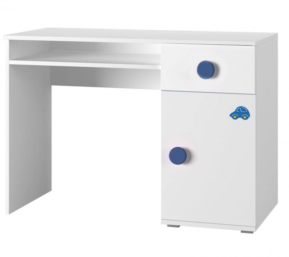 Dětský pracovní stůl Simba 12(korpus bílá/front bílá a modré autíčko)