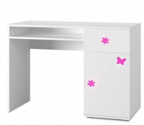 Dětský pracovní stůl Simba 12(korpus bílá/front bílá a růžový motýlek)