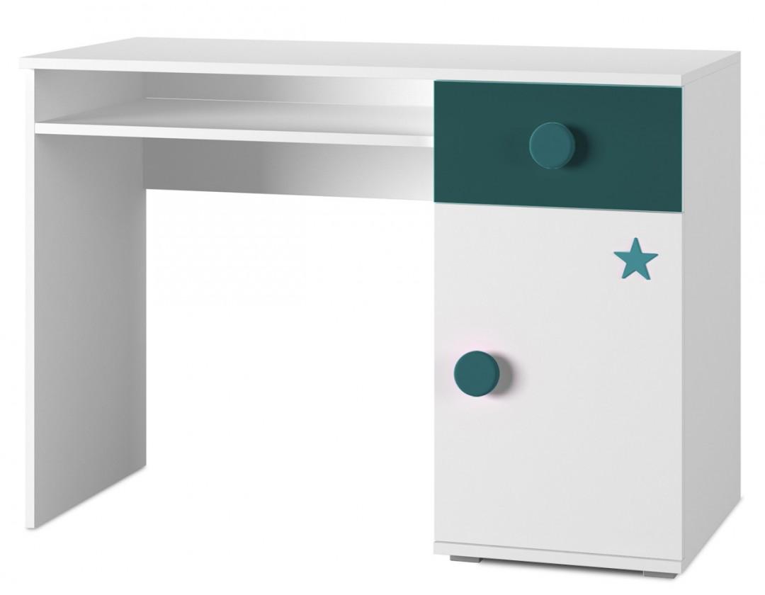 Dětský pracovní stůl Simba 12(korpus bílá/front bílá a tyrkysová)