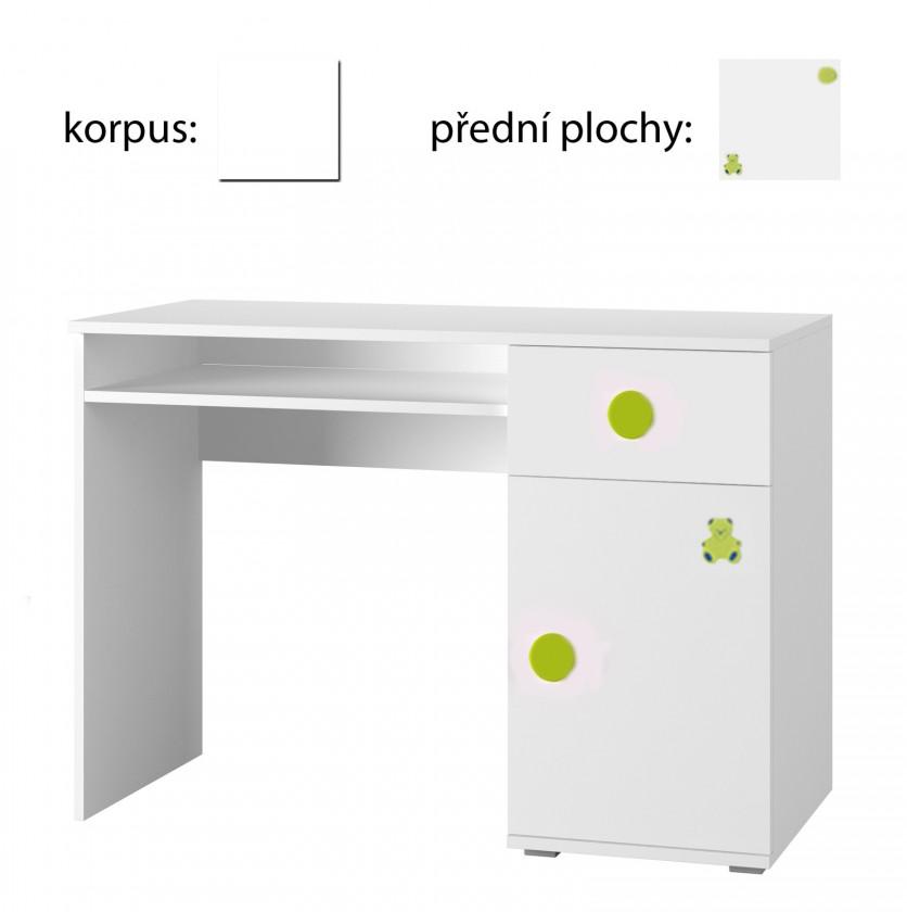 Dětský pracovní stůl Simba 12(korpus bílá/front bílá a zelený medvídek)