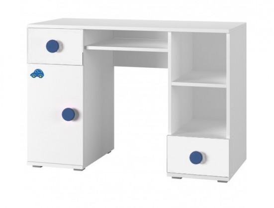 Dětský pracovní stůl Simba 13(korpus bílá/front bílá a modré autíčko)