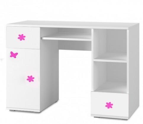 Dětský pracovní stůl Simba 13(korpus bílá/front bílá a růžový motýlek)