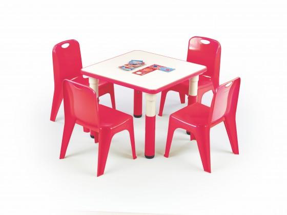 Dětský pracovní stůl Simba - Výškově nastavitelný dětský stolek (bílá/červená)