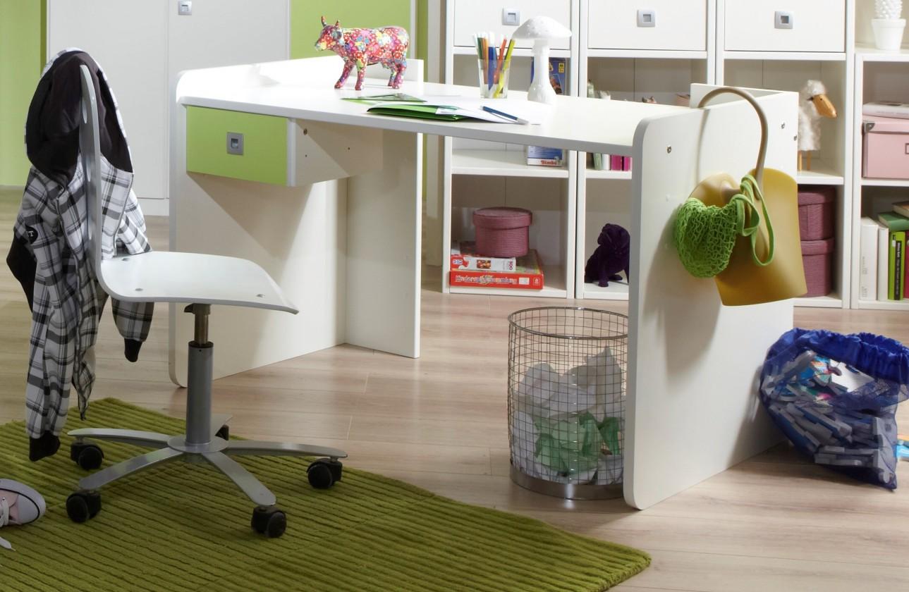Dětský pracovní stůl Sunny - Pracovní stůl (alpská bílá se zeleným jablkem)