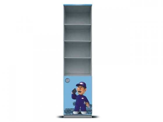 Dětský regál Junior mechanik - Regál (šedá/modrá, 1x dveře)