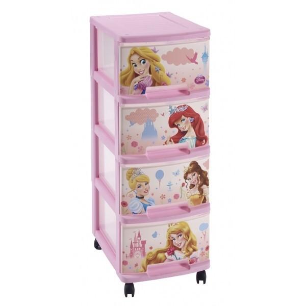 Dětský regál Regálek se 4 zásuvkami  4x10L princezny, růžová