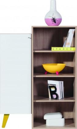 Dětský regál SAJMON SJ 11 L/P + 9 (modřín/bílá lesk/žlutá)