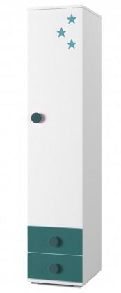 Dětský regál Simba 2(korpus bílá/front bílá a tyrkysová)