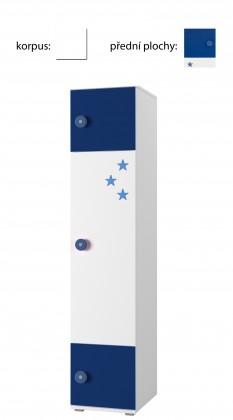 Dětský regál Simba 3(korpus bílá/front bílá a modrá)