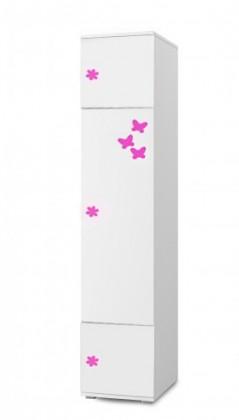 Dětský regál Simba 3(korpus bílá/front bílá a růžový motýlek)