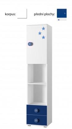 Dětský regál Simba 4(korpus bílá/front bílá a modrá)