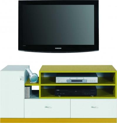 Dětský TV stolek MOBI MO 12 (bílá lesk/žlutá)