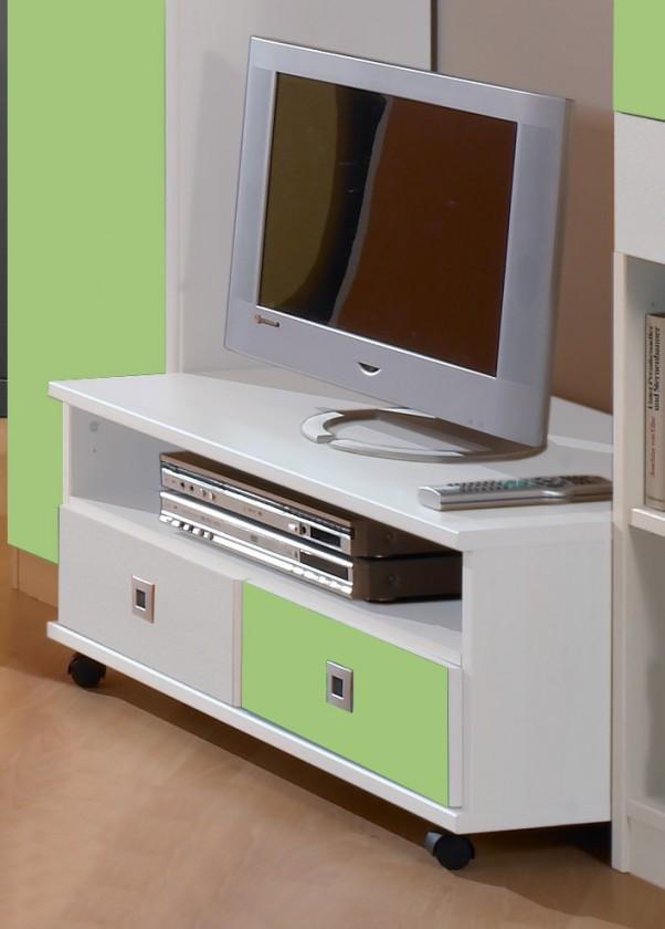 Dětský TV stolek Sunny - TV stolek (alpská bílá se zeleným jablkem)