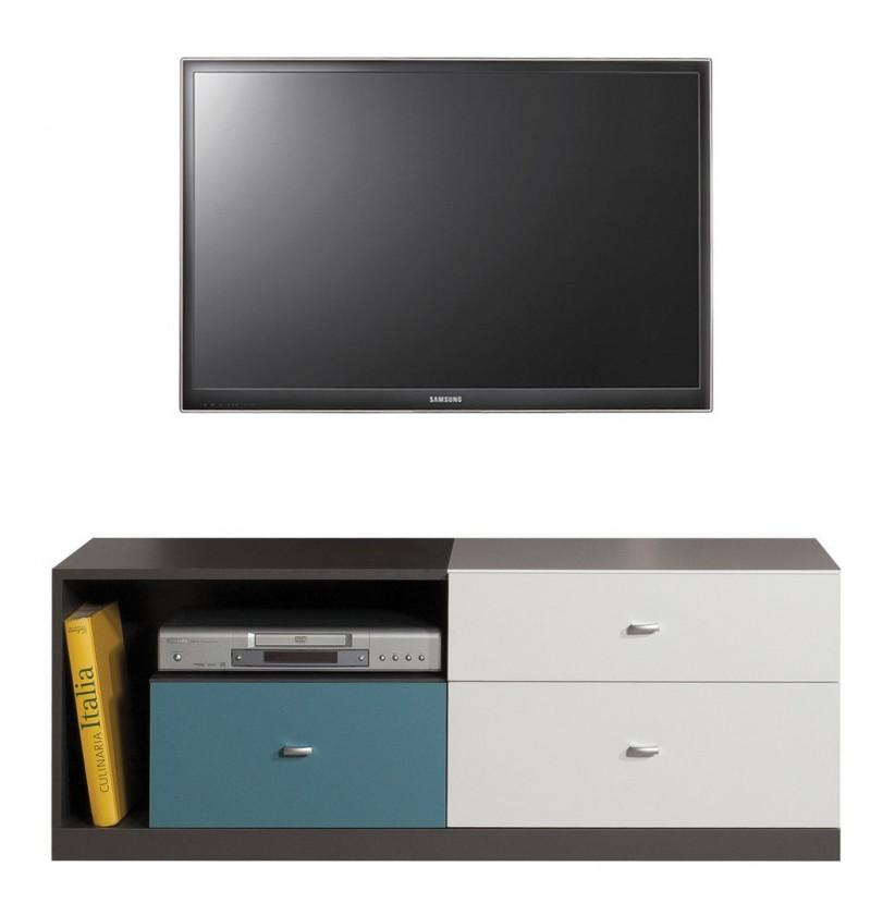 Dětský TV stolek Tablo - TV stolek, 3x zásuvka (grafit/bílá, lesk/atlantic)