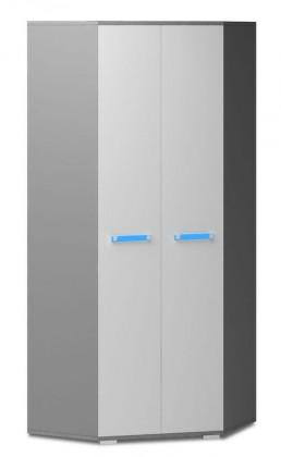 Diego 05 - Skříň (přední strana bílá/šedé boky/modrý úchyt)
