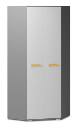 Diego 05 - Skříň (přední strana bílá/šedé boky/žlutý úchyt)