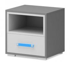 Diego 14 - Noční stolek (bílá/šedé boky/modrý úchyt)