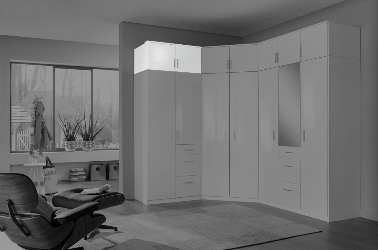 Doplněk Clack - Nástavec na skříň, 2x dveře (bílá, bílá)