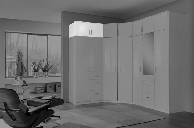 Doplněk Nástavec na skříň Clack (2x dveře, bílá, bílá) - PŘEBALENO