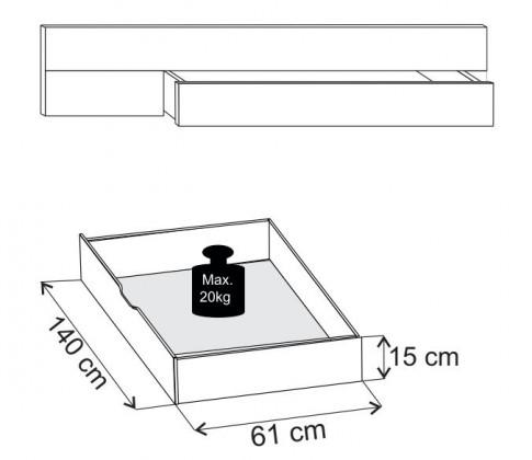 Doplněk Padua - ÚP pro postel 180x200 cm (dub balken/alpská bílá)