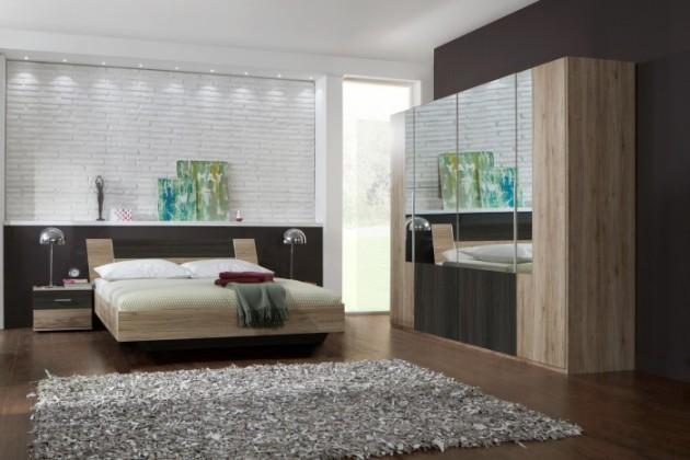 Dora - komplet velký, postel 160cm (dub, zrcadlo, wenge)