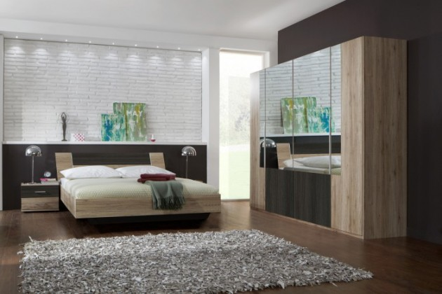Dora - komplet velký, postel 180cm (dub, zrcadlo, wenge)