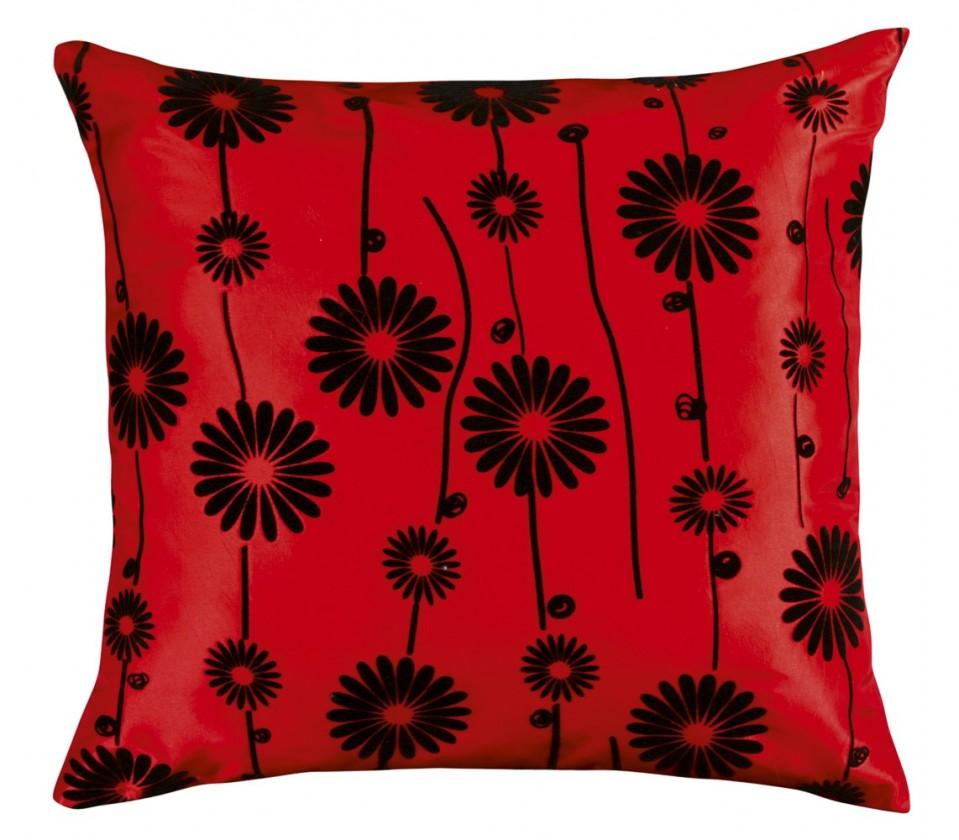 Dora - Polštářek 45x45cm (červený s černým květem)