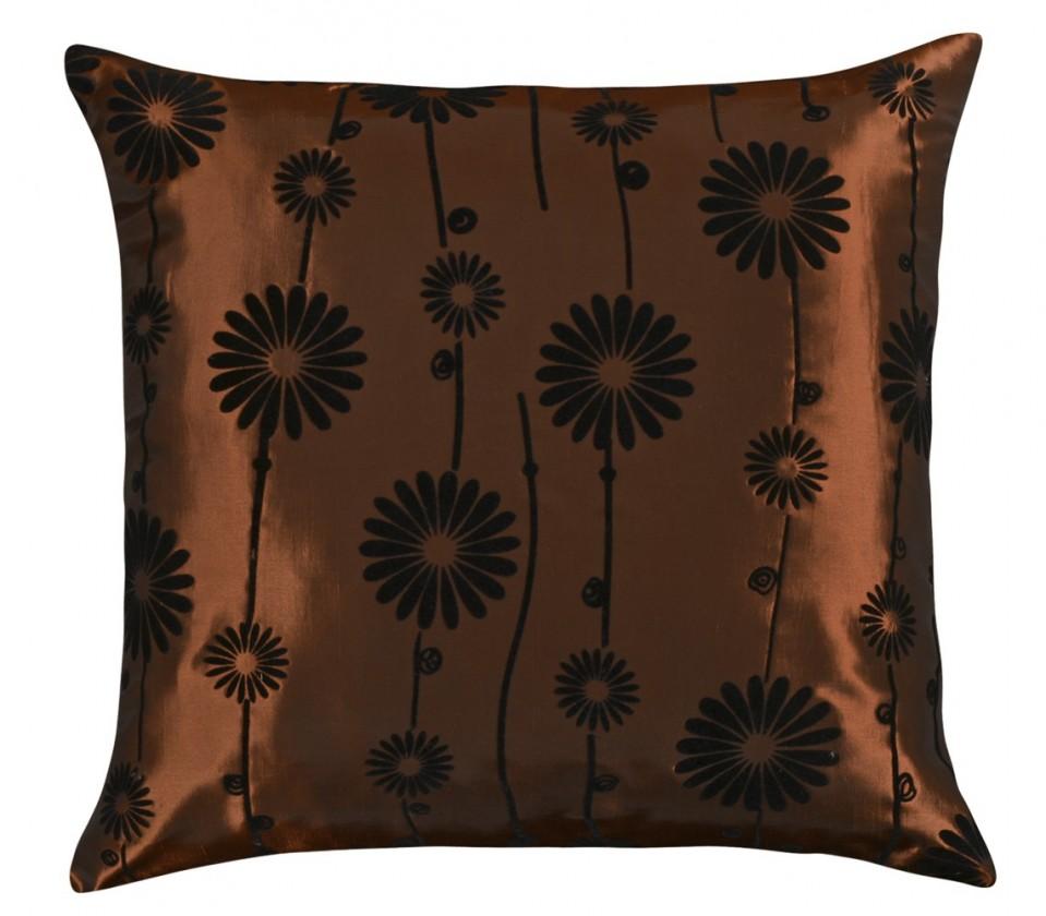 Dora - Polštářek 45x45cm (hnědý s černým květem)