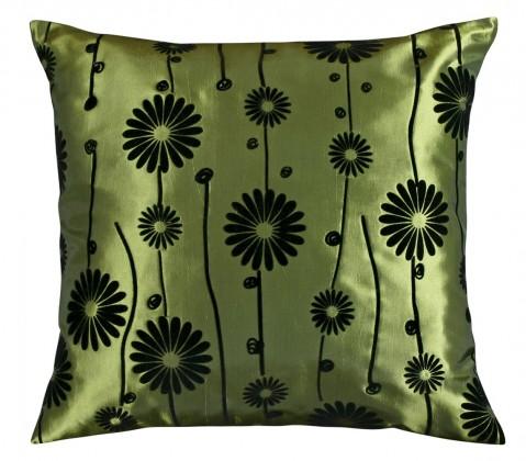 Dora - Polštářek 45x45cm (zelený s černým květem)