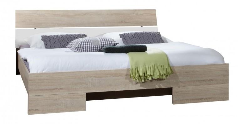 Dřevěná Alina - Postel 140 cm (dub, alpská bílá)