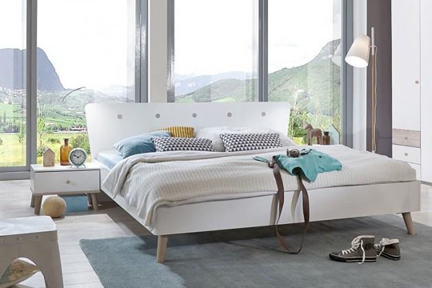 Dřevěná Bergen - Postel 140x200, 2x noční stolek (dub/alpská bílá)