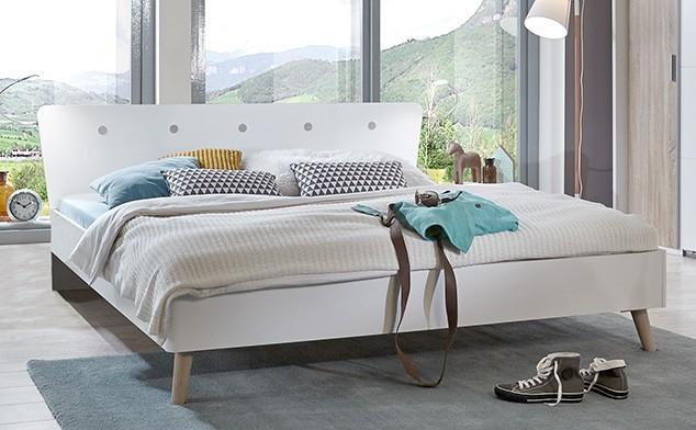 Dřevěná Bergen - Postel 180x200 (dub/alpská bílá)