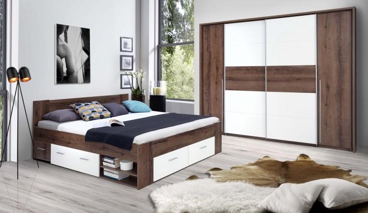 Dřevěná Dřevěná postel Cool 180x200 cm, dub, bílá