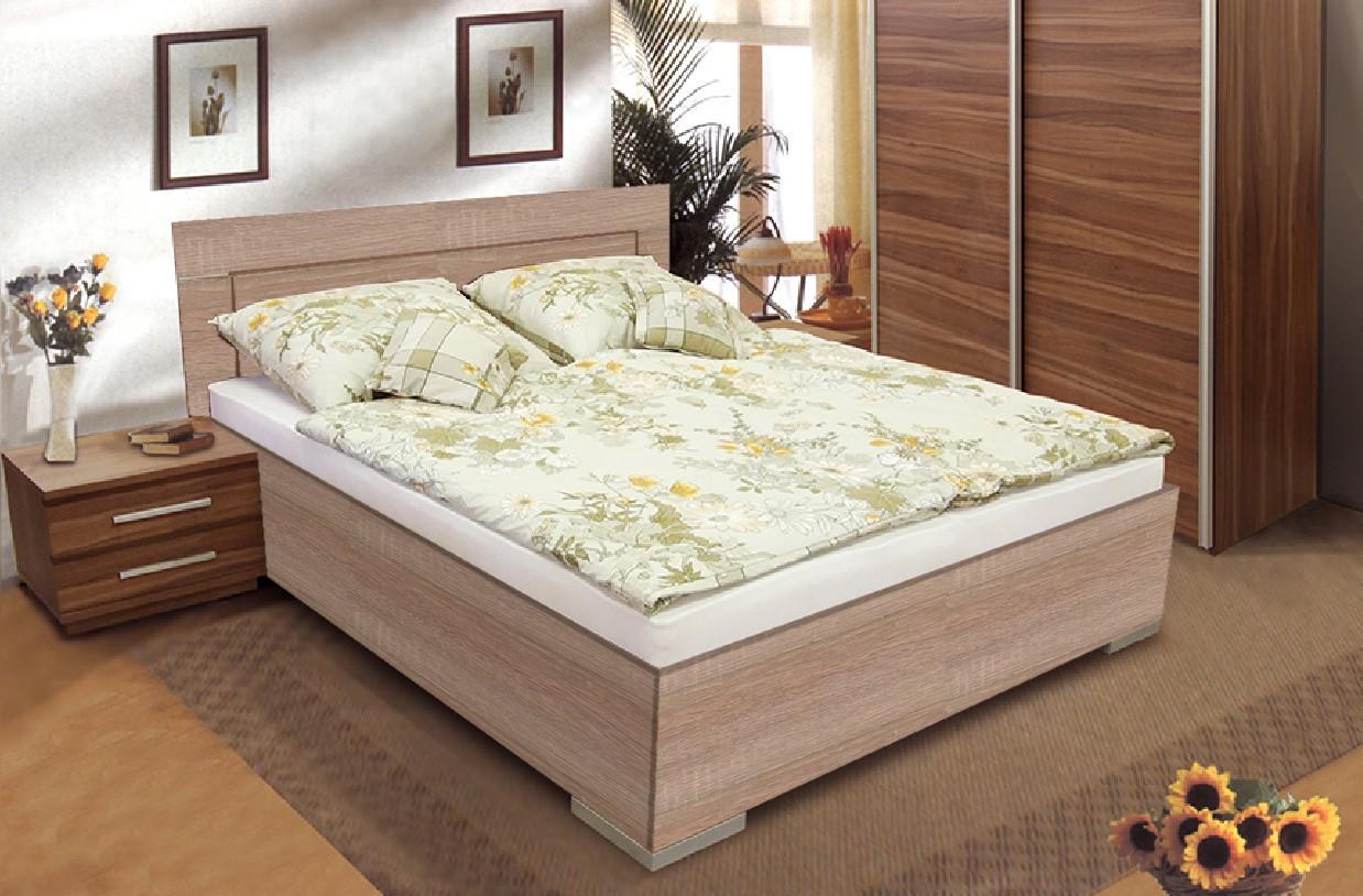 Dřevěná Dřevěná postel Dafne 2 180x200 cm, dub, s úložným prostorem