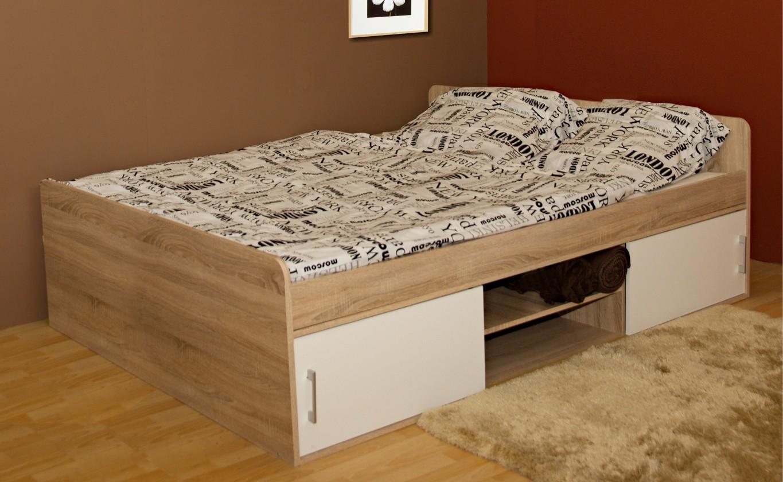 Dřevěná Dřevěná postel Sáva II 120x200 cm, dub, bílá,s úložným prostorem