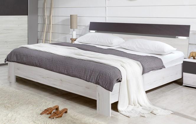 Dřevěná Madrid - Postel 160 cm (dub bílý/lava černá)