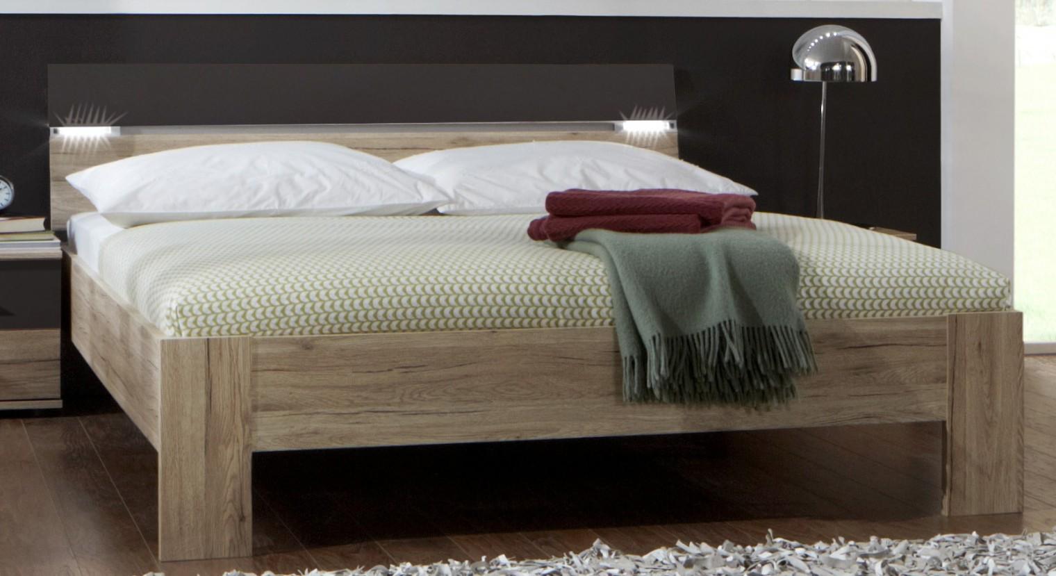 Dřevěná Madrid - Postel 160 cm (dub san remo/lava černá)