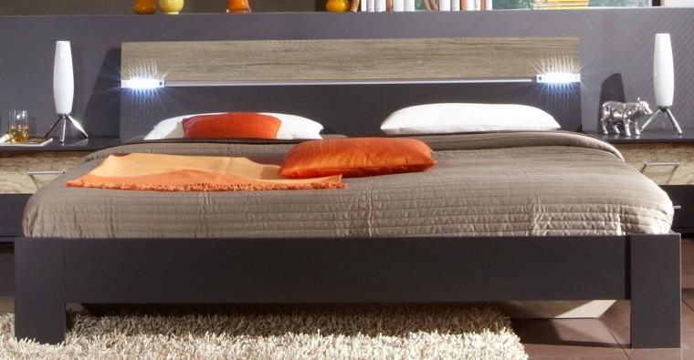 Dřevěná Madrid - Postel 180 cm (lava černá/divoký dub)